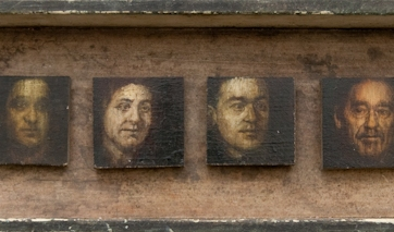 "Maya Brodsky, ""Brodsky Family Portrait"", oil on panel, 4.375 x 15.25 inches, 2008"