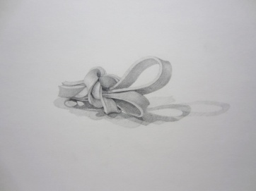 "Yupin Pramotopepipop, ""Knot #41"", pencil on paper, 6 x 2.5 inches, 2007"