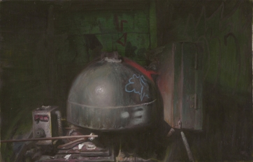 "Tun Myaing, ""Metal Dome of Ahmed"", oil on mylar, 5.5 x 8.5 inches, 2011"