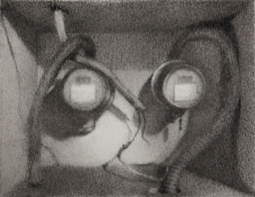 "Yulia Levkovich, ""Dysfunctional"", carbon pencil on paper, 4 x 4.5 inches, 2012"