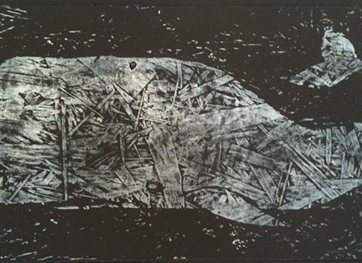 "Tom Keating, ""Sunken Whale"", wood cut, 12 x 24 inches, edition 9 of 11, 2011"